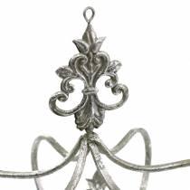 Couronne décorative métal argenté Ø17,3cm H22,5cm