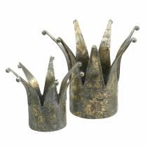 Couronne métal doré aspect antique Ø13,5 / 17,5cm lot de 2