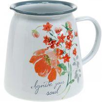 Pichet décoratif avec roses sauvages, pichet en émail, vase en métal aspect vintage H12,5cm