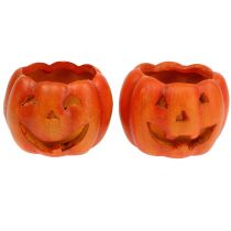 Lanterne citrouille Orange Ø8,5cm H6,5cm 2pcs