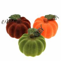 Mini potiron floqué orange, vert, rouge Ø9cm 6pcs