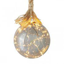 Boule LED d'intérieur boule lumineuse avec corde Ø14cm 30L blanc chaud