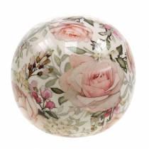 Boule décorative rose faïence rose clair Ø9cm