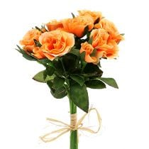Fleurs artificielles bouquet de roses orange L 26 cm 3 p.