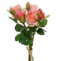 Bouquet de roses artificielles en rose 40cm