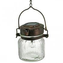Lanterne LED, suspension, lumière solaire dans le verre Ø11cm H14cm