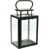 Lanterne décorative en métal noir, lanterne rectangulaire en verre 19x15x30,5cm