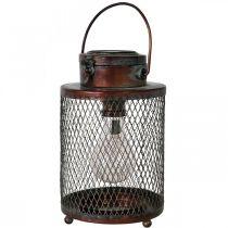 Lanterne en métal, lampe solaire, LED, optique antique Ø13,5cm H28,5cm