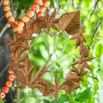 Couronne de feuilles, rouille noble, décoration en métal, couronne, décoration d'automne, fleuriste commémorative Ø29cm