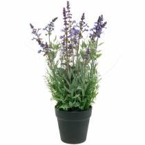 Décoration florale lavande en pot de plantes artificielles