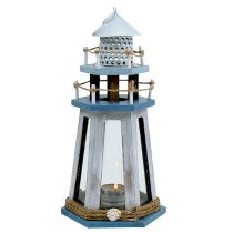 Phare photophore bleu-nature H. 32 cm