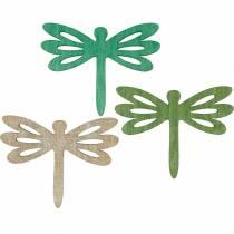 Libellules à disperser, décoration d'été en bois, décoration de table vert 48pcs
