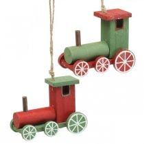 Locomotive décorations de sapin de Noël bois rouge, vert 8,5 × 4 × 7cm 4pcs
