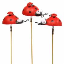 Bouchon décoratif coccinelle sur bois bâton rouge, noir 4cm x 2.5cm H23.5cm 16pcs