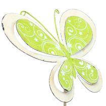 Pique en métal papillon vert rose 52 cm 2 p.