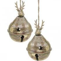 Cloches en métal avec décoration renne, Décoration de l'Avent, Cloche de Noël avec étoiles, Cloches dorées aspect antique Ø9cm H14cm 2pcs