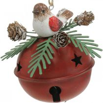 Cloches avec merles, décorations oiseaux, hiver, cloches décoratives pour Noël blanc/rouge Ø9cm H10cm lot de 2