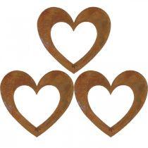 Coeur rouille décoration de jardin coeur en métal 10cm 12pcs