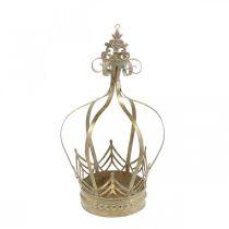Couronne en métal, photophore pour l'Avent, cache-pot à suspendre doré, aspect antique Ø16,5cm H27cm