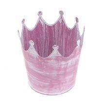 Couronne métal rose lavé blanc Ø10cm H9cm 6pcs