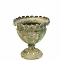 Coupe décorative aspect métal antique vert mousse Ø13cm H14.5cm
