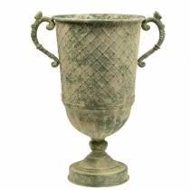 Gobelet décoratif à motif diamant aspect métal vert mousse Ø24.5cm H45cm