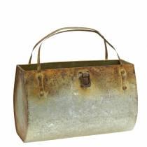 Cache-pot métal gris / rouille H16cm