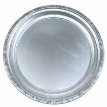 Assiette décorative métal argenté brillant Ø36cm H3cm