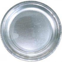 Assiette décorative, sous-couche de rangement, plaque métallique argentée, décoration de table Ø26cm
