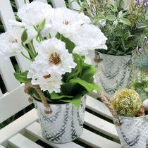 Pot en métal pour la plantation, pot de fleur avec anses, jardinière avec motif fleur Ø18cm