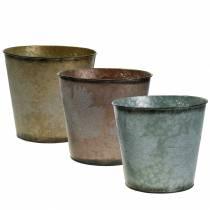 Cache-pot décoratif à feuilles zinc gris métallisé, orange, marron Ø26cmH22cm 3pcs