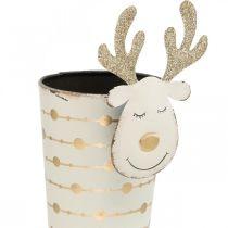 Cache-pot renne, décoration de l'Avent, décoration métal, cache-pot pour Noël blanc, doré H28cm Ø8.5cm