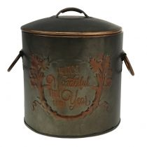 Pot en métal avec couvercle Ø17,5cm H20,5cm