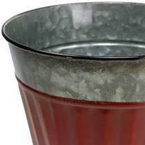 Cache-pot rouge-argent Ø13cm H11cm lot de 4