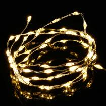 Chaine lumineuse micro-LED à piles minuterie blanc chaud 60s 94cm