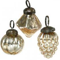 Mini boules d'arbre, diamant / boule / cône, tentures d'arbre mix aspect antique Ø3–3,5cm H4,5–5,5cm 9pcs