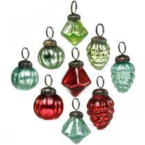 Mini boule de sapin de Noël mix, diamant / boule / cône, boules de verre aspect antique Ø3–3,5cm H4,5–5,5cm 9pcs