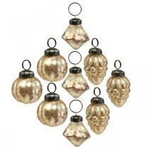 Mini boule de verre mix, diamant / boule / cône, décorations d'arbres, aspect antique Ø3–3,5cm H4,5–5,5cm 9pcs
