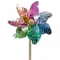 Moulin à vent, décoration d'été, moulin à vent sur la tige colorée, décoration pour fête d'anniversaire des enfants Ø16cm 4pcs