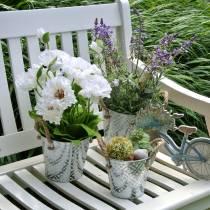 Pavot dans un pot de fleurs en soie blanche décoration florale