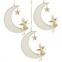 Décoration de l'Avent, ange sur la lune, décoration en bois à suspendre blanc, doré H14.5cm L21.5cm 3pcs