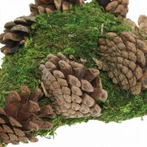 Décoration tombe coeur mousse avec cônes pour arrangement funéraire 20×13cm