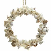 Couronne de coquillage blanc naturel Ø40cm