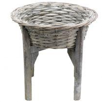 Corbeille sur pied en bois Ø 33 cm H. 9,5 cm, gris-blanc