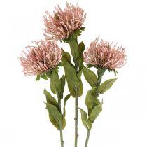 Fleur d'automne en pelote artificielle rose Leucospermum 73cm 3pcs