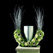Demi-anneau urnes fleuries en mousse H29cm Ø47cm 1pc bijoux de deuil