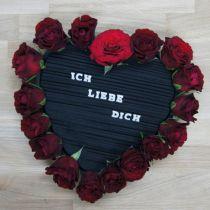 Coeur mousse floral noir 38cm 2pcs