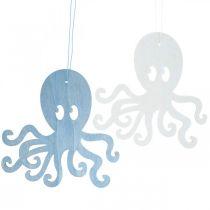 Pieuvre à suspendre pieuvre en bois bleu, blanc Décoration d'été maritime 8pcs