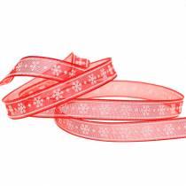 Ruban d'organza avec flocon de neige rouge 10mm 20m