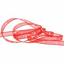 Ruban d'organza avec étoile rouge 6mm 20m